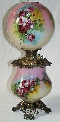 WOW! ANTIQUE Hand Painted Gone with the Wind Oil Lamp ROSES (GWTW Parlor Lamp)