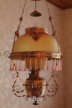 WOW RARE Victorian Ansonia Hanging Kerosene Oil Lamp Parlor or Library c1865