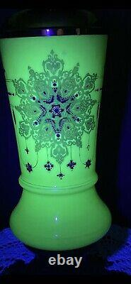 WOW! Victorian Vaseline Glass Parlor Oil/Electric Lamp Raised Persian Pattern