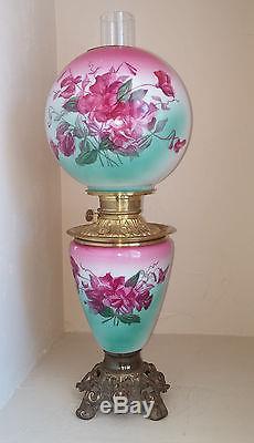 XLNT Antique Fostoria Hand Painted Turquoise & Fuchsia Floral GWTW Oil Lamp