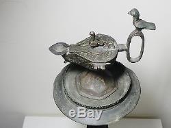 Zurqieh Beautiful Islamic Bronze Oil Lamp With Stand, Khorasan, 11th Century